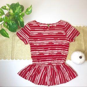 Tops - Red & White Peplum Blouse